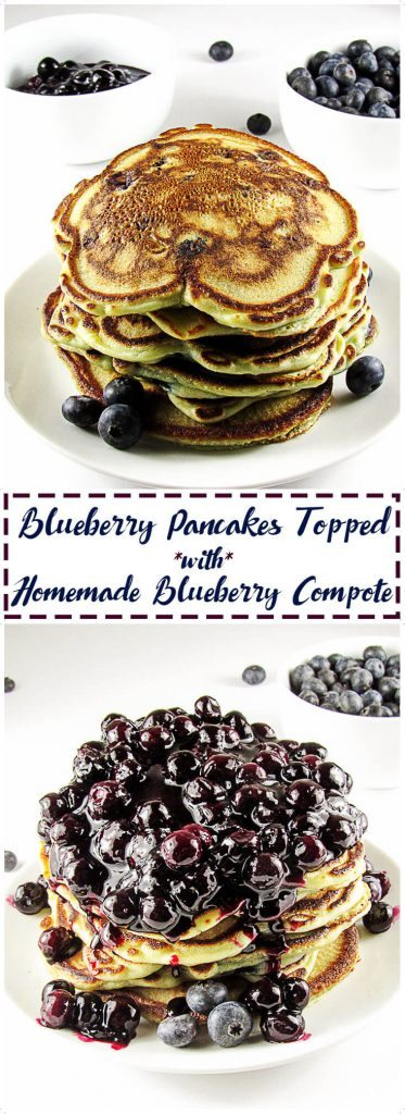 Blueberry pancakes topped with compote.