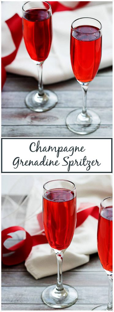 Champagne Grenadine Spritzer in tall glasses.