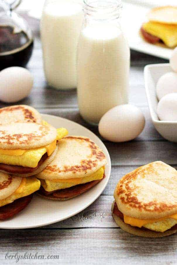 Ham Egg & Cheese Pancake Sliders with milk and fresh eggs.