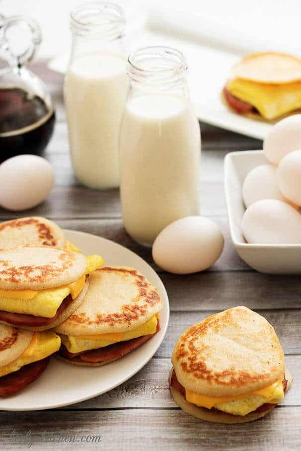 Sliders, milk, eggs, and syrup.
