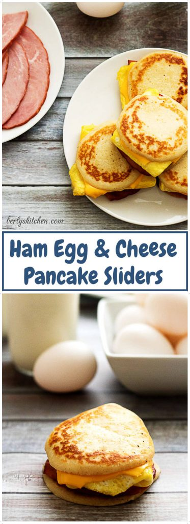 Two photos of ham egg and cheese pancake sliders in a collage.