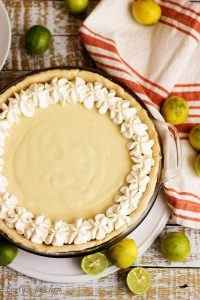 Top down view of whole Key Lime Pie.