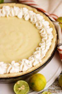 Key Lime Pie with fresh key limes.