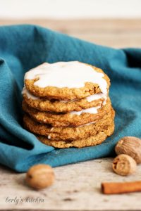 Spiced and Iced Oatmeal Cookies with whole spices.