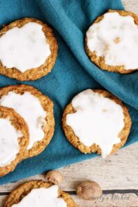 Top down view of Spiced and Iced Oatmeal Cookies.
