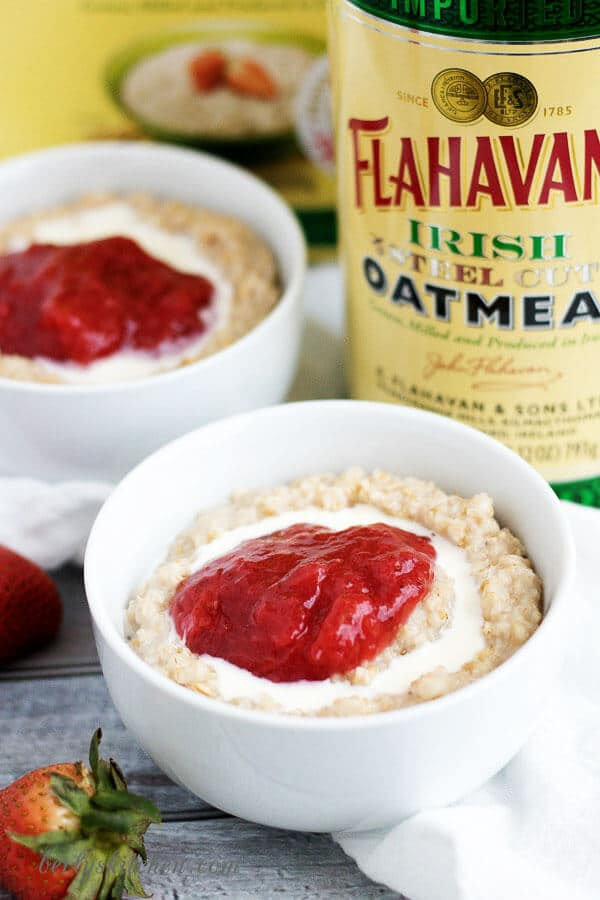 A simple, yet delicious combination of steel cut oats and sweet strawberry jam. It's a quick and easy breakfast option for the busy household.