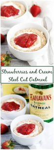 Our strawberries and cream steel cut oatmeal recipe is a simple, yet delicious combination of steel cut oats and sweet strawberry jam.