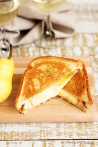 Sliced Grilled Brie and Pear Sandwich.