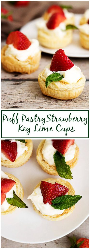 Puffed pastry treats with key lime filing and topped with strawberries.