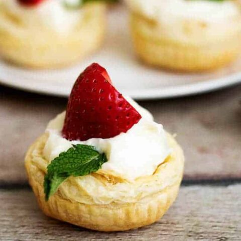 Strawberry Key Lime Cups with fresh mint.