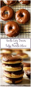 Treat yourself to our vanilla cake donuts with fudgy Nutella glaze for a decadent, sweet treat. It's perfect for breakfast or dessert!