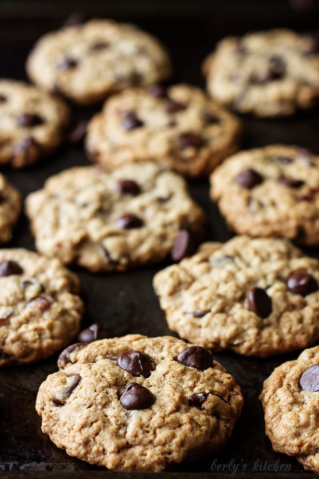 Several Cranberry Dark Chocolate Chip Oatmeal Cookies on a baking sheet.