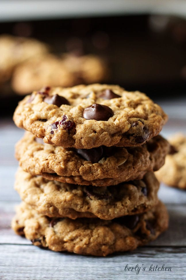 Close up stack of Cranberry Dark Chocolate Chip Oatmeal Cookies.