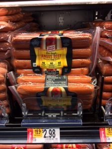 Oscar Mayer Angus beef hot dogs in packages.