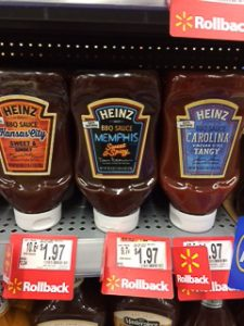 Heinz Memphis BBQ sauce on a shelf.