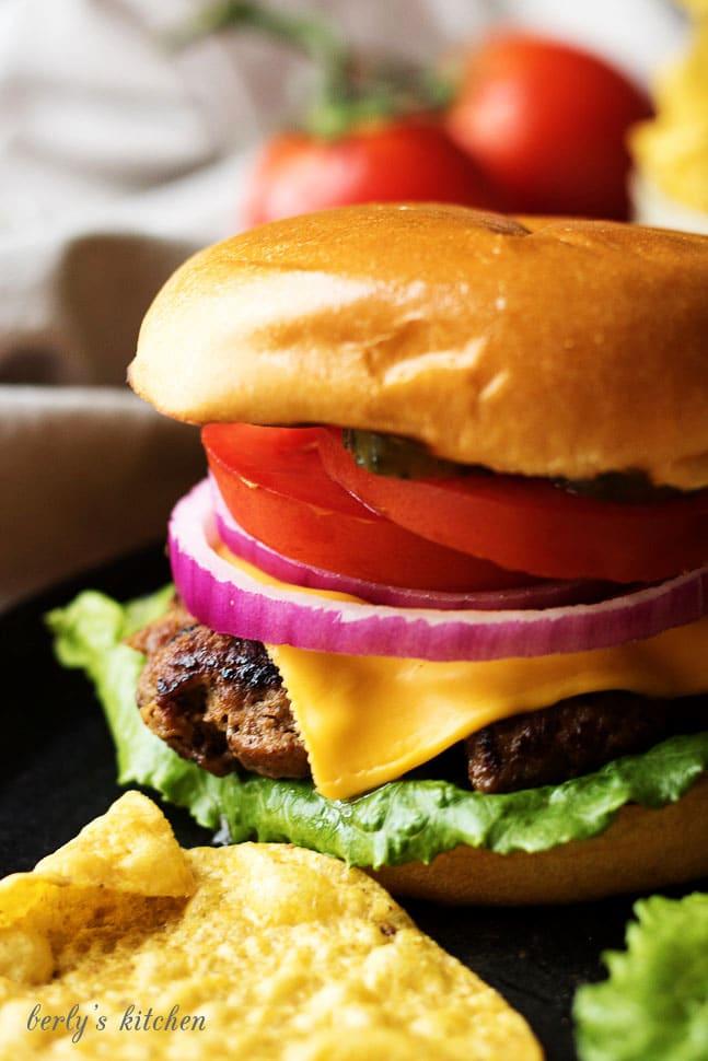 Homemade hamburgers with chips.