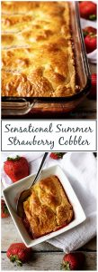 Check out our sensational Summer strawberry cobbler! It's made with simple ingredients and stuffed with plump strawberries and topped with a moist crust.