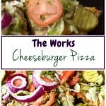The Works Cheeseburger Pizza is a simple to prepare recipe loaded with all the fixings, including lettuce, tomatoes, pickles, and onions.
