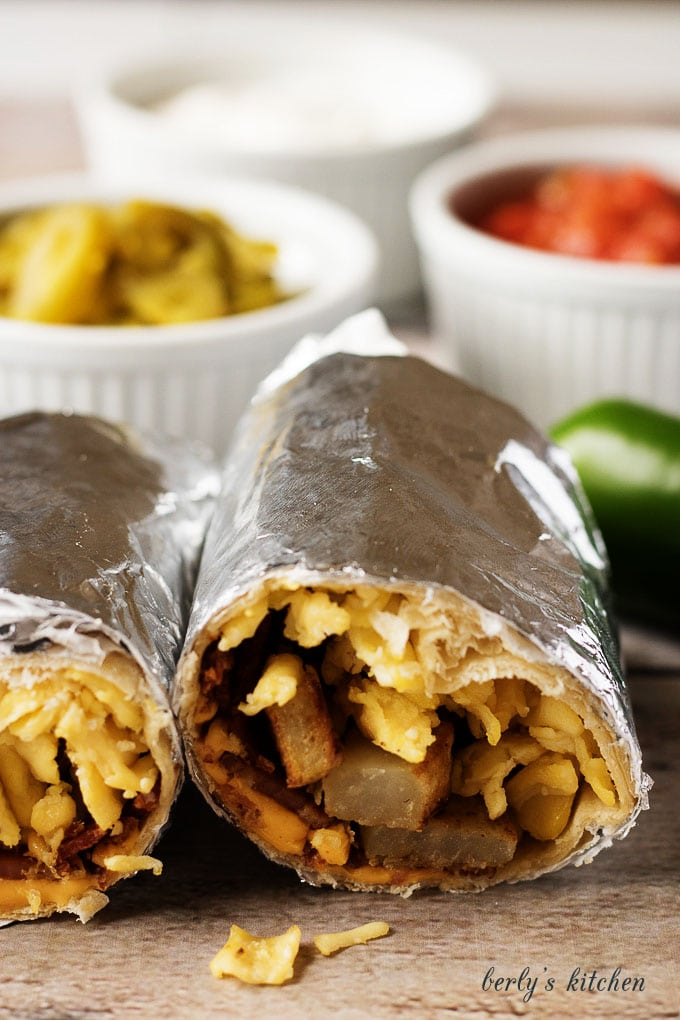 Another close up view of the inside of the breakfast burritos.