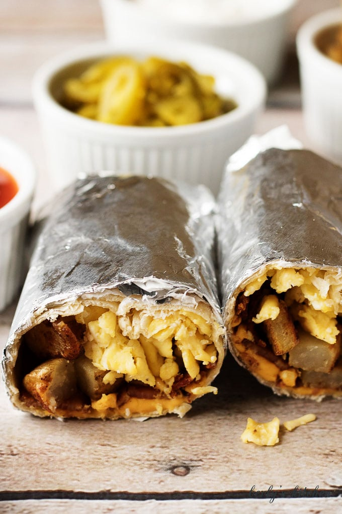 An inside view of the finished burritos showing the filling.