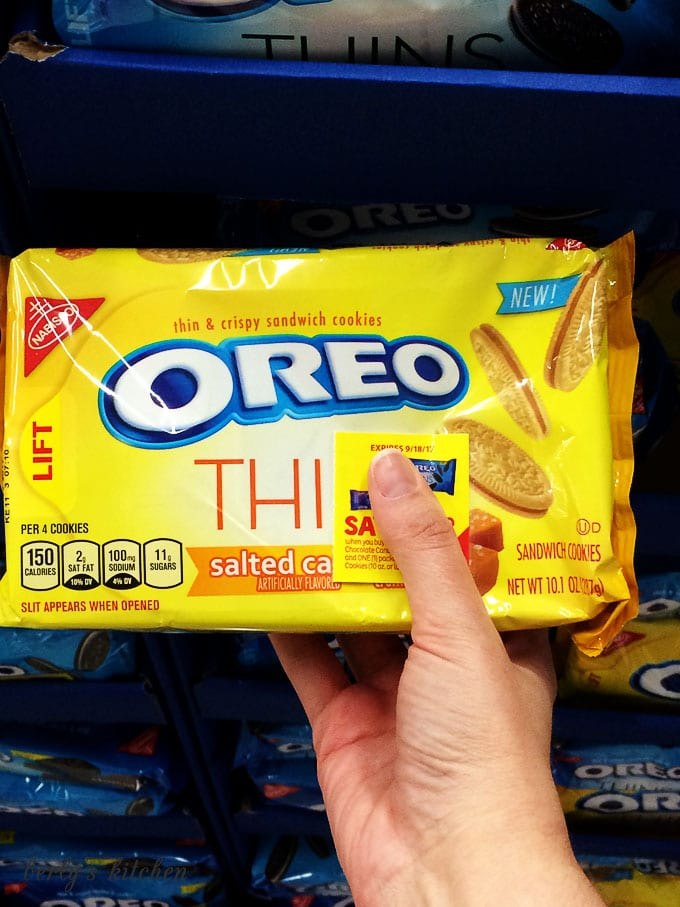 Yellow package of thin salted caramel OREOs.