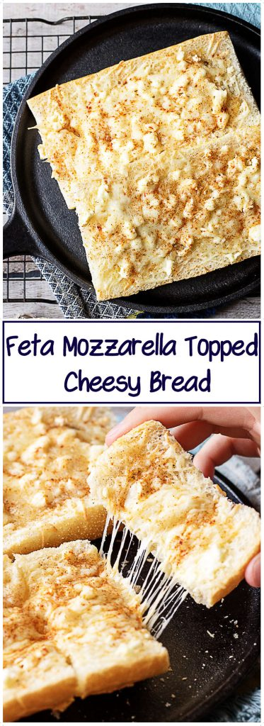 Feta mozzarella topped cheesy bread is the ultimate compliment or starter to any meal. We took Cuban bread, topped it with feta, mozzarella, and garlic.