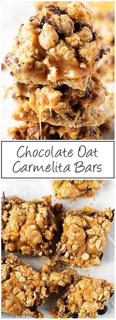Caramel and chocolate between a shortbread crust & oatmeal topping. #Chocolate #Oat #Carmelita #Bars #Caramel #Dessert