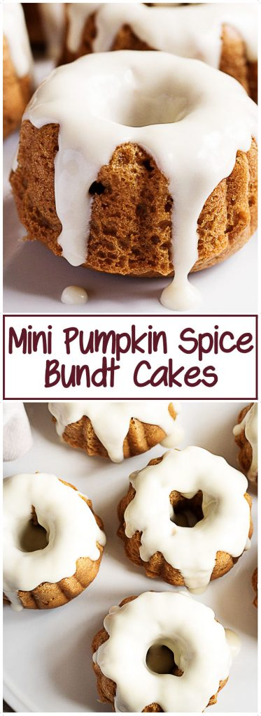 Mini pumpkin bundt cakes with maple frosting.