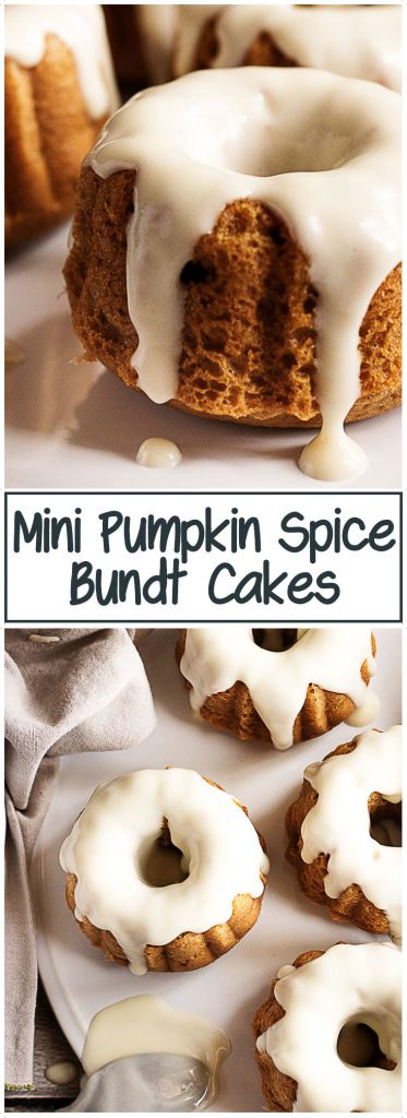 Pumpkin bundt cakes on a white platter.