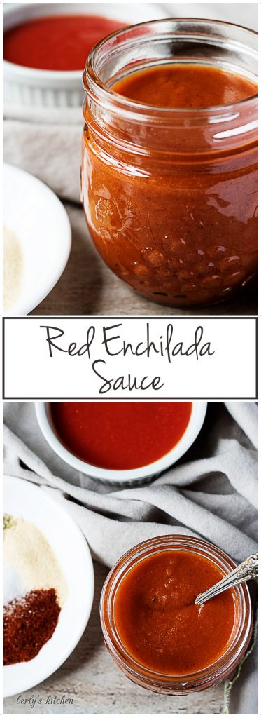 Jar of enchilada sauce with a spoon.