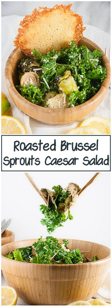 A Roasted Brussel Sprouts Caesar Salad is the perfect balance of hearty, roasted brussel sprouts and light, Caesar salad. It's exactly what you need when you want a little something more than the traditional Caesar salad.