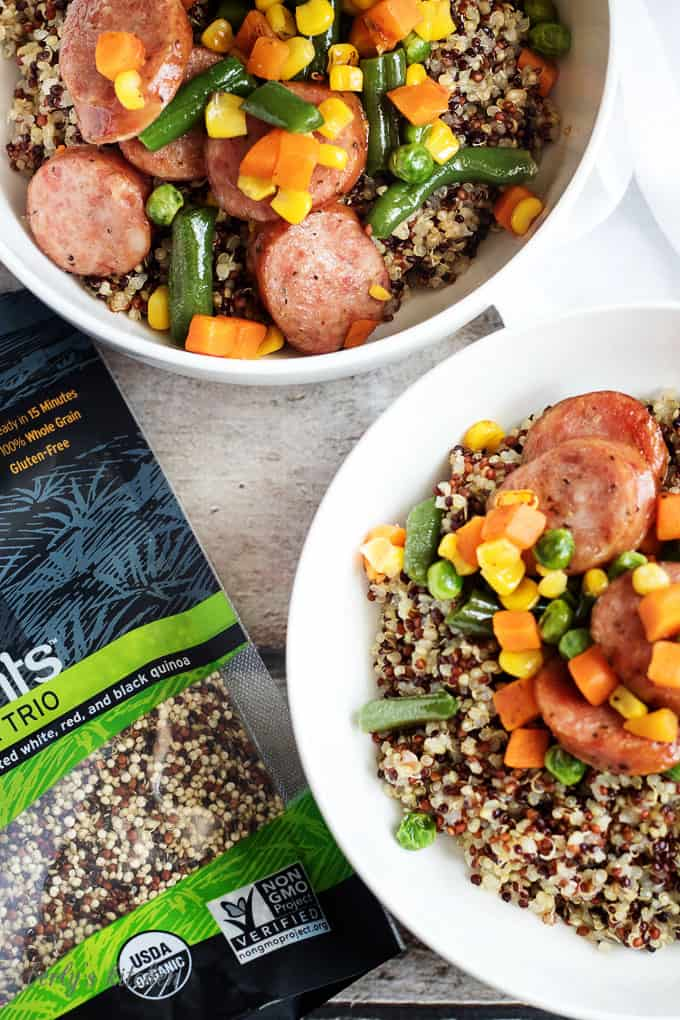 Top down view of sausage veggies and quinoa.