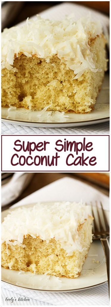 Grandma's super simple coconut cake is one of our favorite recipes. A moist french vanilla cake topped with cream cheese frosting and shredded coconut.