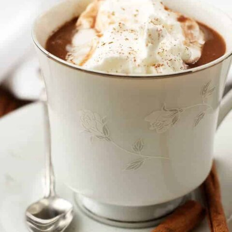 The hot cocoa in a white cup garnished with whipped cream and cinnamon.