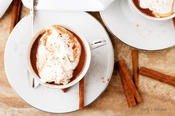 Top-down view of the hot cocoa in a mug garnished with whipped cream and ground cinnamon.