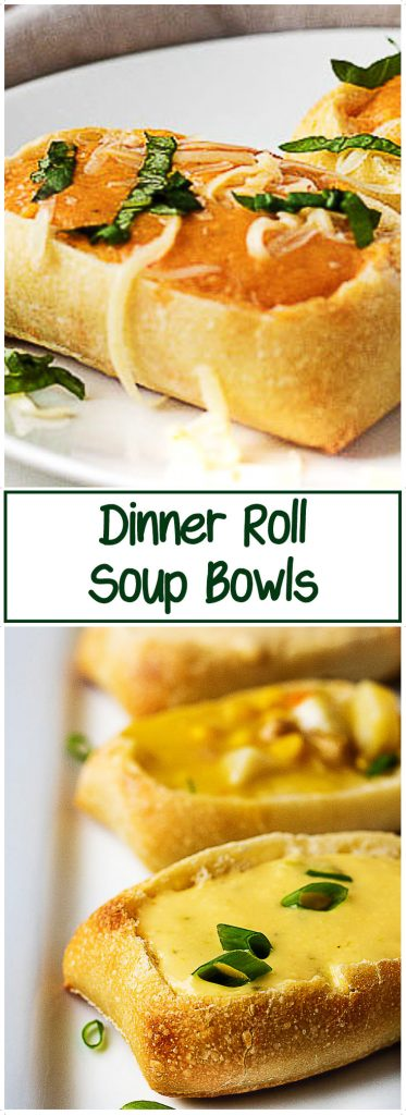 Stacked photos showing bread bowls with multiple types of soup and the name of the dish.