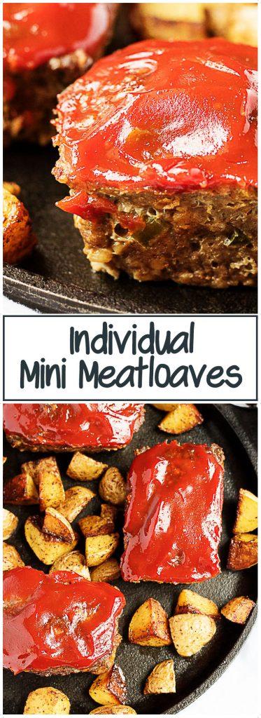 Individual mini meatloaves of savory hamburger meat, seasonings, and zesty ketchup. #minimeatloaf #meatloaf #miniature #individual