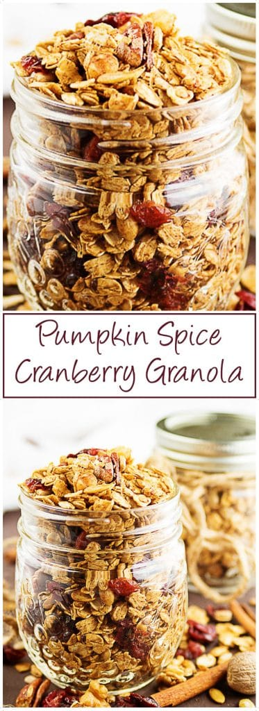 A delectable cranberry granola loaded with oats, nuts, and pumpkin spice seasonings. Lightly toasted in the oven to bring out all the delicious flavors. #granola #pumpkinspice #cranberries #fallrecipe #snack