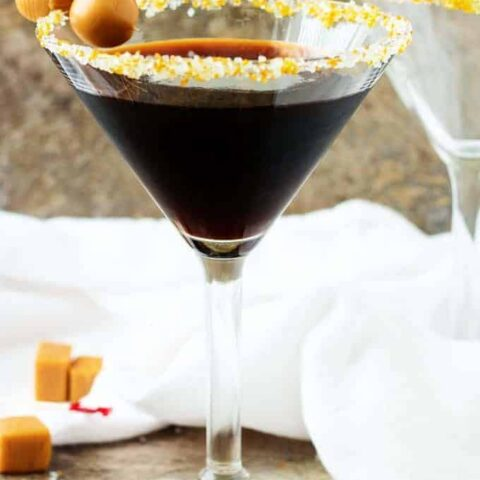 Salted Caramel Coffee Martini in sugar rimmed glass.
