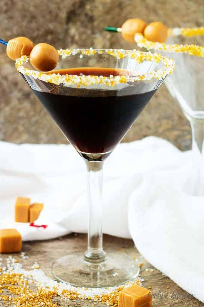 Salted Caramel Coffee Martini in sugar rimmed glass.