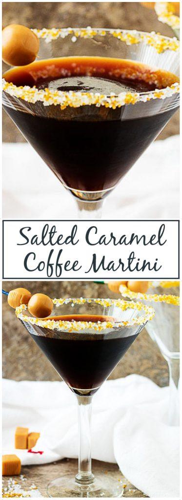 Coffee caramel martini with caramel candies.