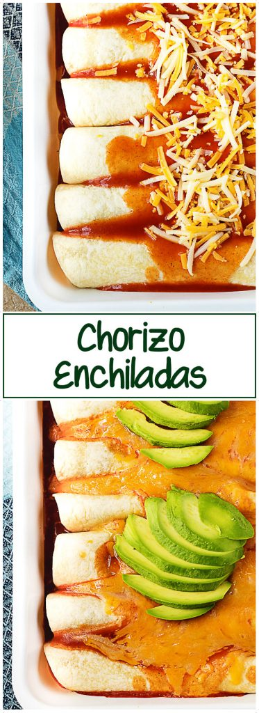 Both the prepped and cooked enchiladas in a pan, covered in sauce and melted cheese.