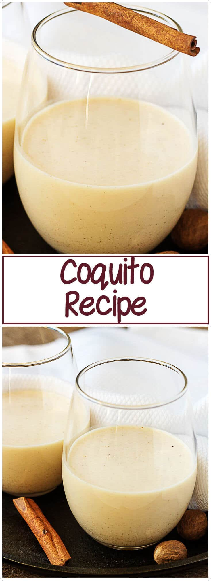A simple Coquito recipe that's festive and perfect for lifting your holiday spirits. A rich and creamy coconut eggnog spiked with white rum. #coquito #eggnog  #alcohol #Christmas
