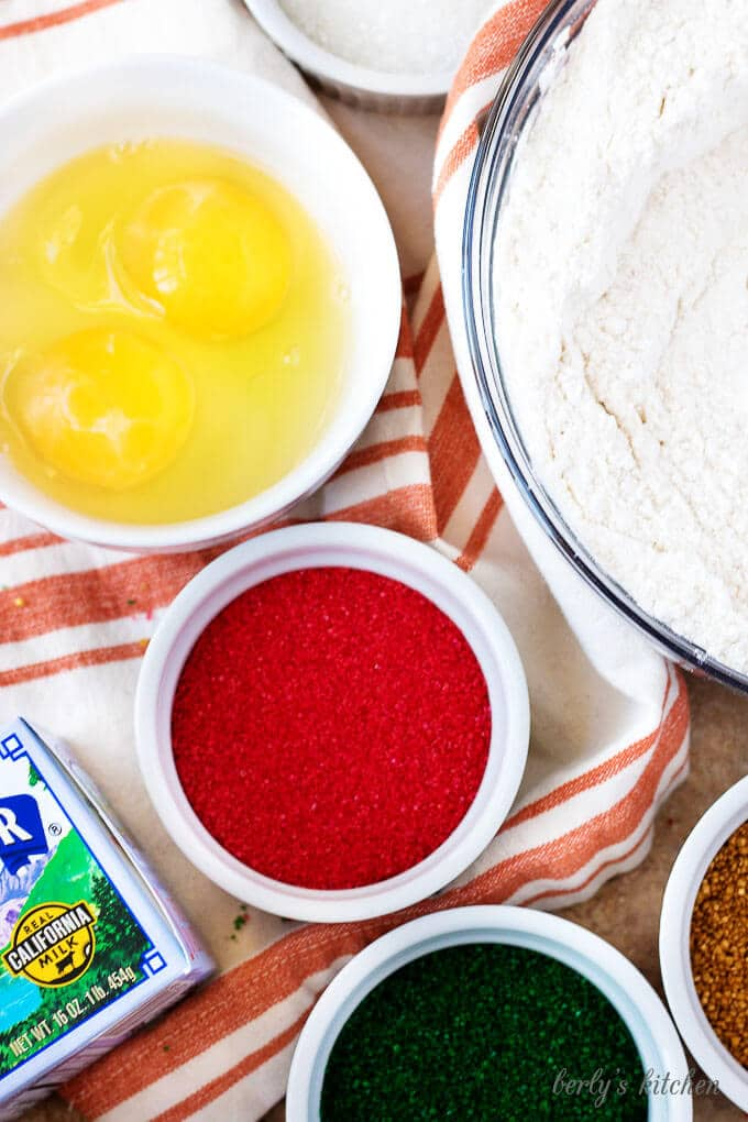 A top-down view of the seal and ingredients like eggs, sugar, and flour.