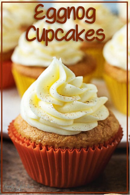 Spiced eggnog cupcakes topped with creamy, eggnog flavored buttercream frosting. They're a festive and simple holiday treat for kids and adults. #cupcakes #holiday #recipe #treat #eggnog