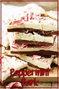 A final picture of the stacked peppermint bark pieces with the recipe name.