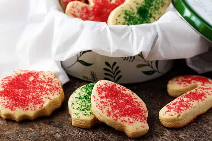 The finished soft sugar cookies, sprinkled with colorful sugar, in a bowl .