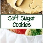 Two photos, one of the rolled dough and cookie cutters, one of the finished soft sugar cookies in a tin.