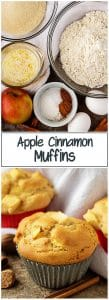 Two stacked pictures, on top is a photo of the ingredients and on bottom is a photo of the finished apple cinnamon muffins.