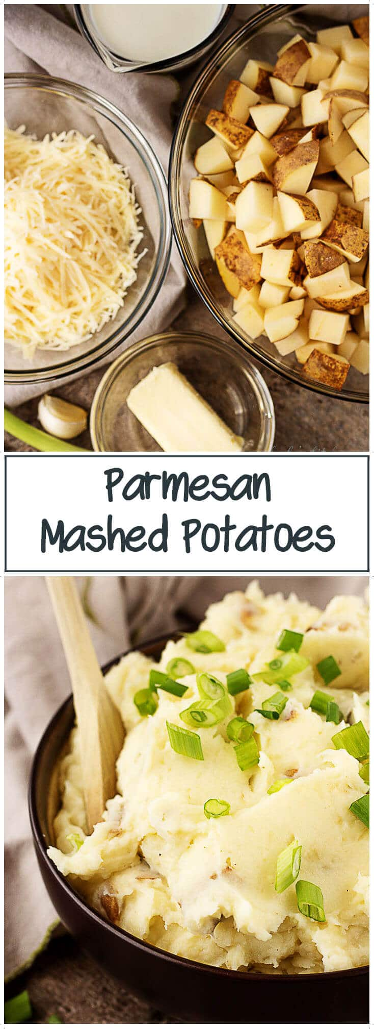 Warm and cheesy parmesan mashed potatoes made with fresh garlic and nutty parmesan cheese. It's the perfect side to compliment any main dish. #potatoes #sidedish #mashed #cheesy